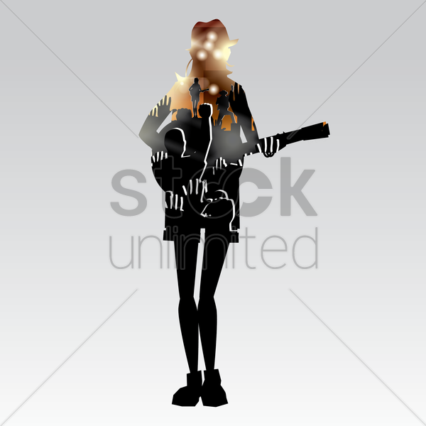 Free double exposure of woman holding guitar and music event vector graphic