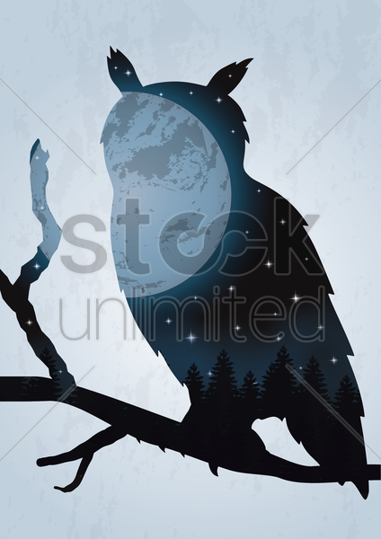 double exposure owl and night sky vector graphic