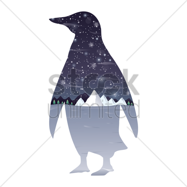 double exposure penguin and winter landscape vector graphic