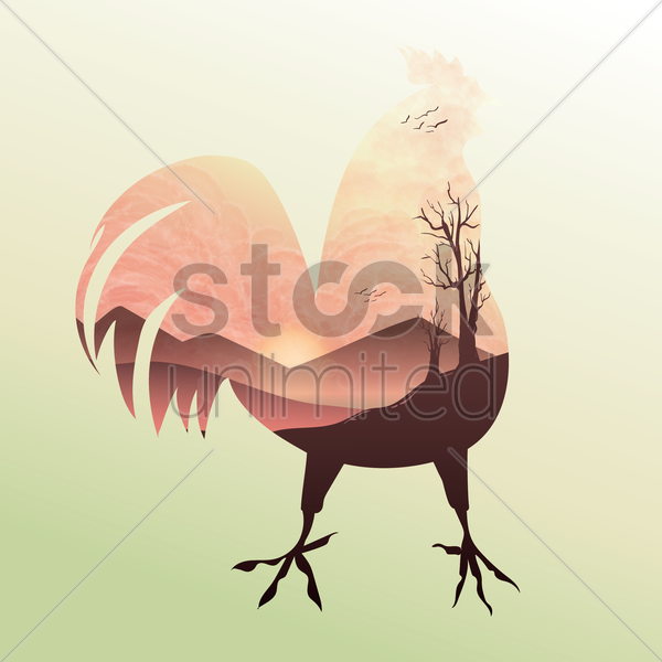 double exposure rooster and sunrise vector graphic