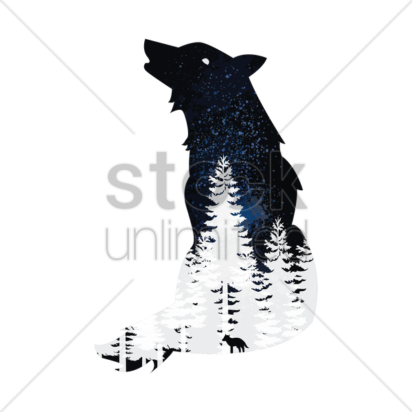 double exposure wolf and forest vector graphic