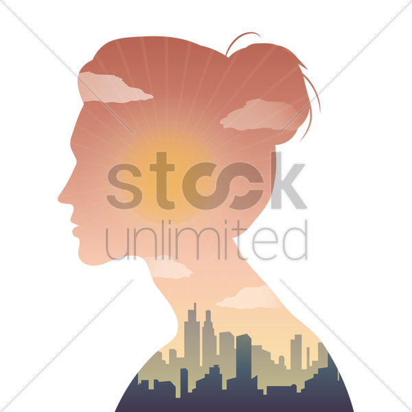 double exposure woman and building vector graphic