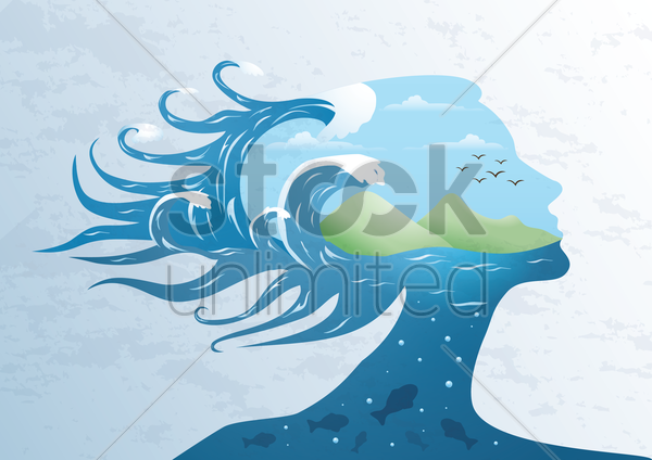 double exposure woman and ocean vector graphic