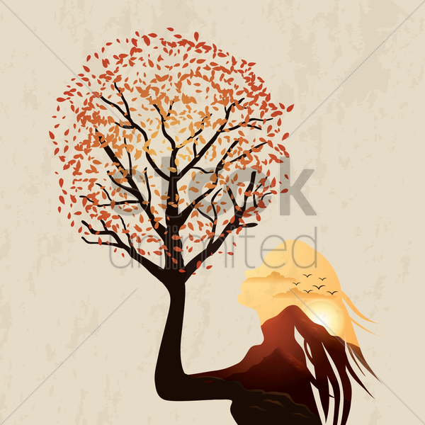 double exposure woman and sunset vector graphic
