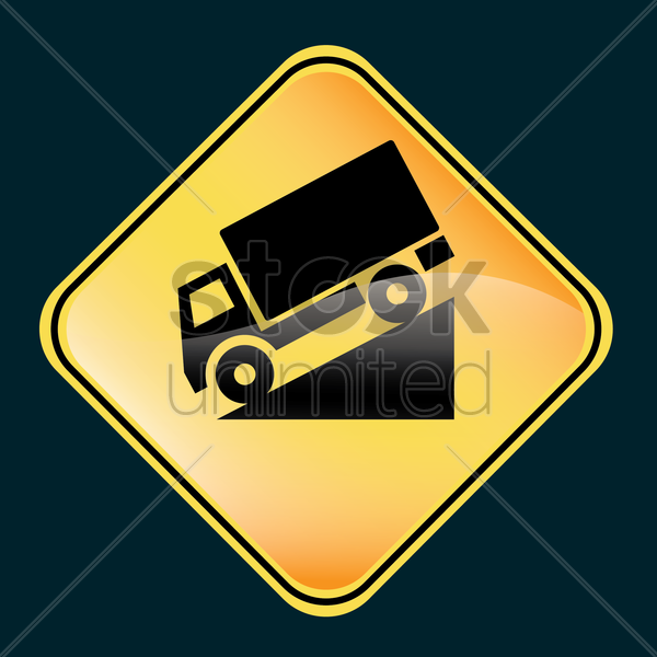 downhill road sign vector graphic