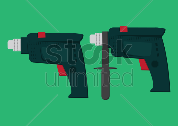 drilling machine set vector graphic