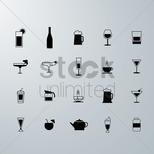 drink icons vector graphic
