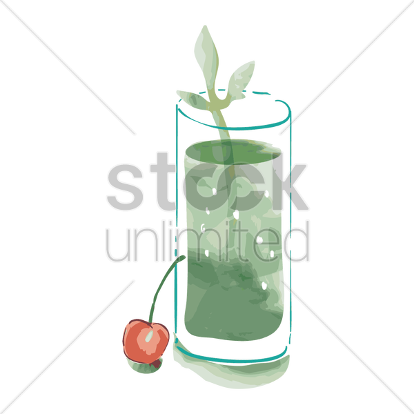 drink in glass with cherry and leaves vector graphic