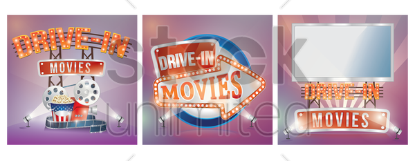 drive in movies vector graphic