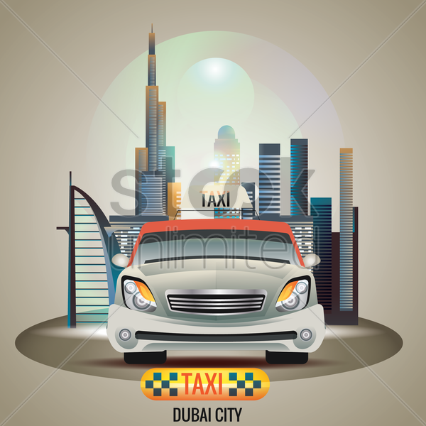 dubai city taxi vector graphic