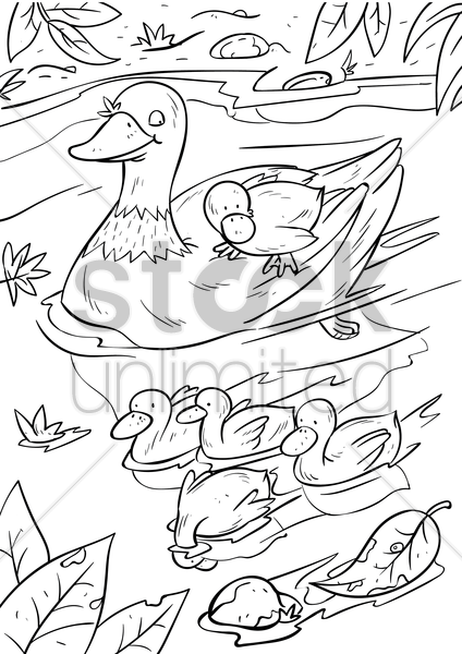 duck with ducklings vector graphic