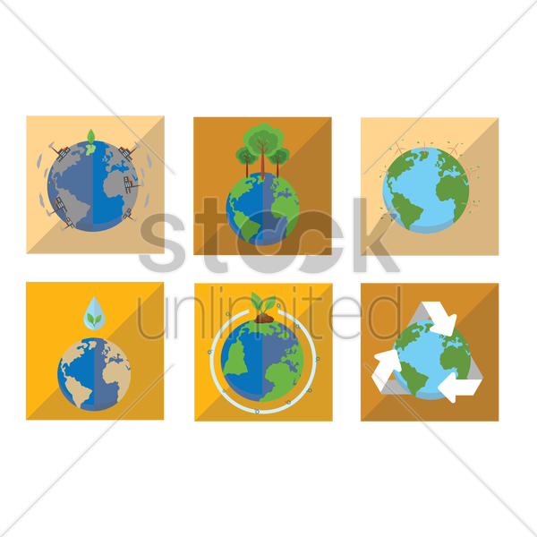 earth conservation icons vector graphic