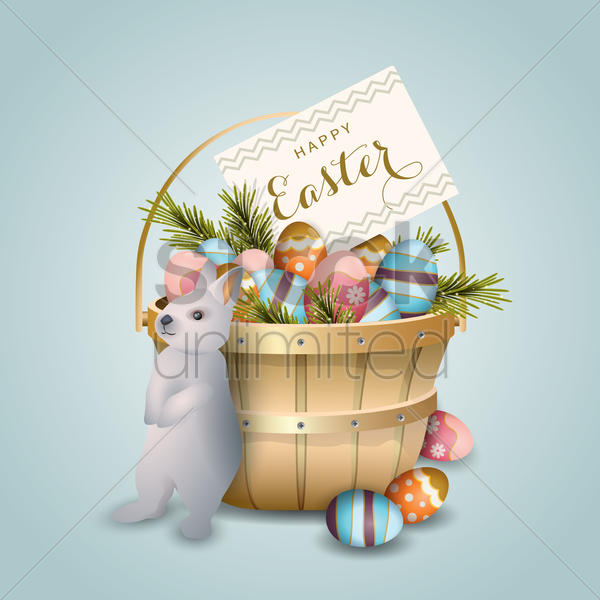 easter basket with bunny eggs vector graphic