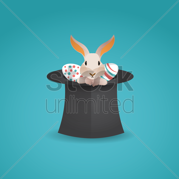 easter bunny and eggs in hat vector graphic