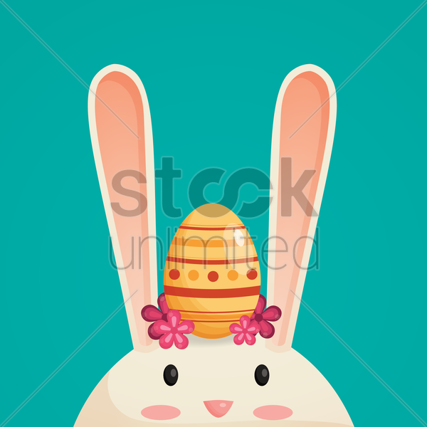 easter egg and bunny head vector graphic