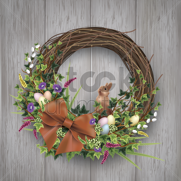 easter egg wreath on wooden background vector graphic