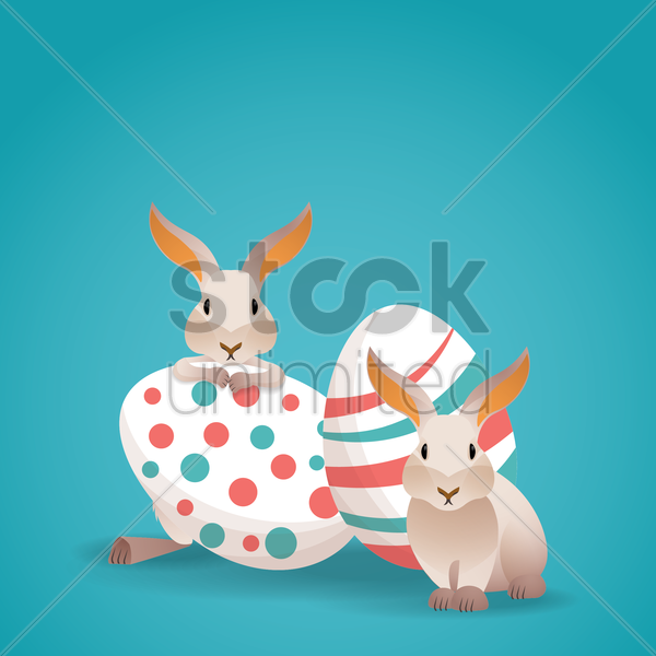 easter eggs and bunnies vector graphic