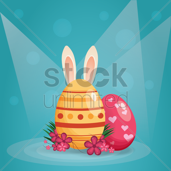 easter eggs and bunny ears vector graphic