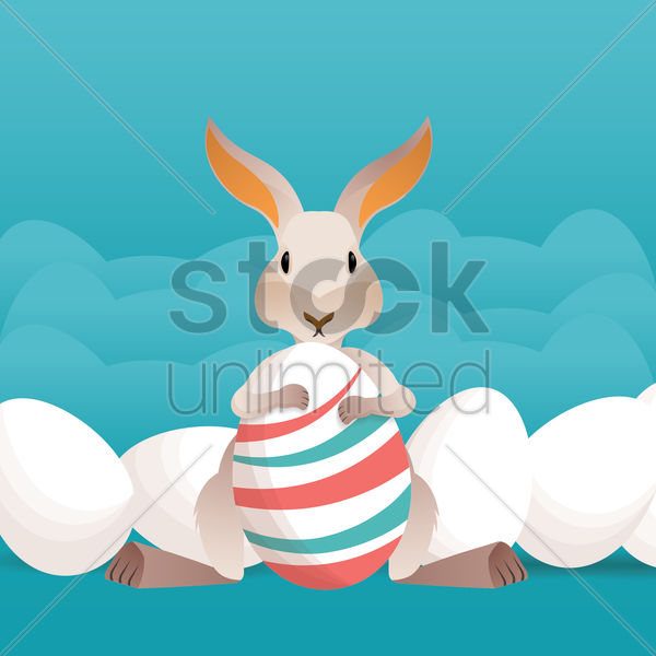 easter eggs and bunny vector graphic