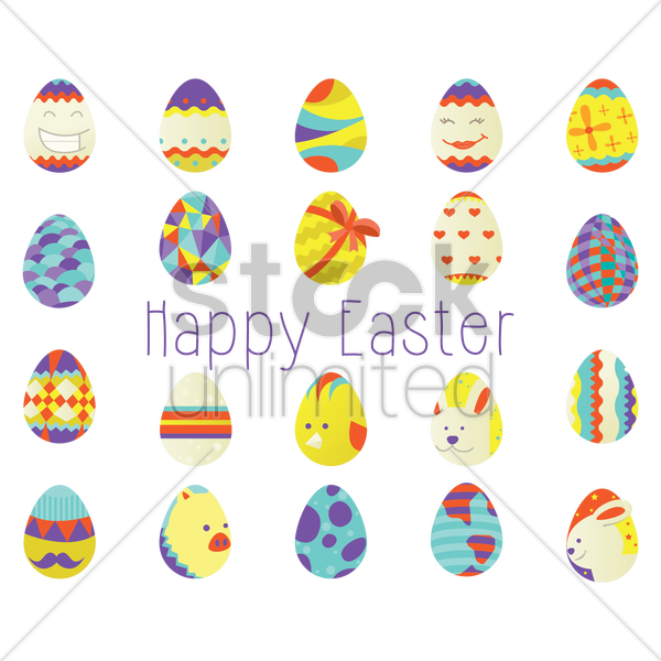 easter eggs collection vector graphic