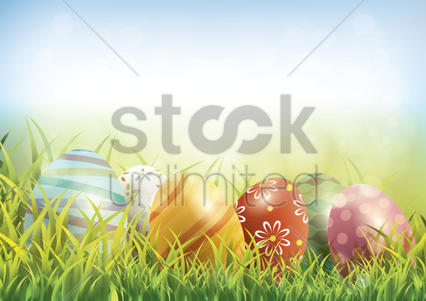 easter eggs on green grass vector graphic