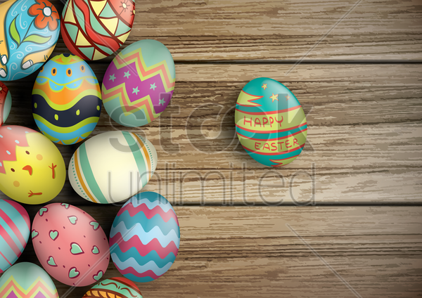 easter eggs on wooden board vector graphic