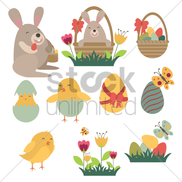 easter set with traditional eggs and flowers vector graphic