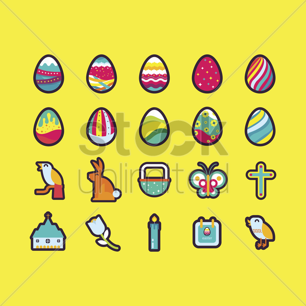 easter set vector graphic