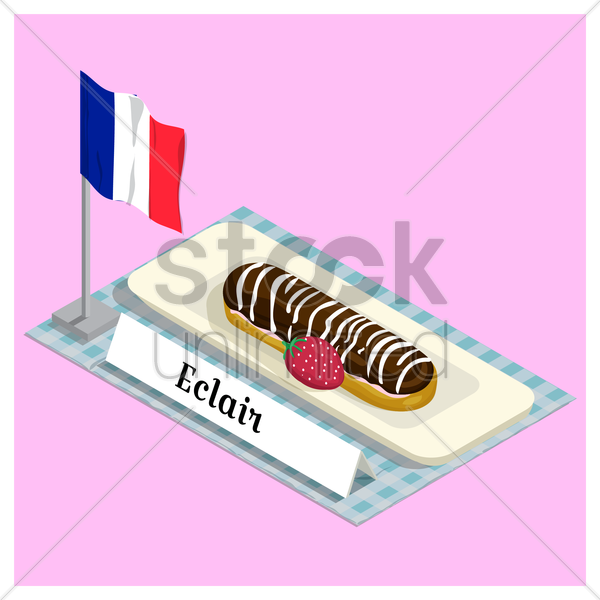 eclair with france flag vector graphic