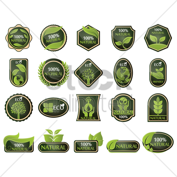 eco and hundred percent natural label set vector graphic