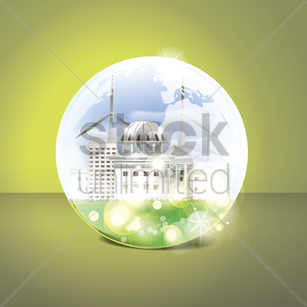 eco factory in a transparent sphere vector graphic