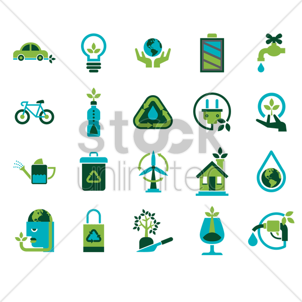 Free eco friendly icons vector graphic