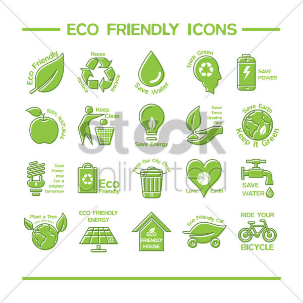eco friendly icons vector graphic