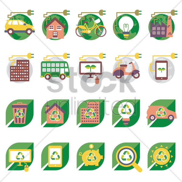 ecofriendly icons vector graphic