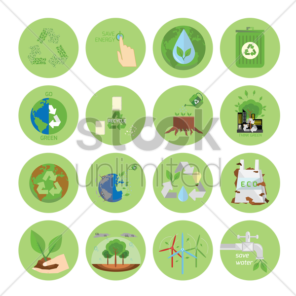 ecology and recycle icons vector graphic