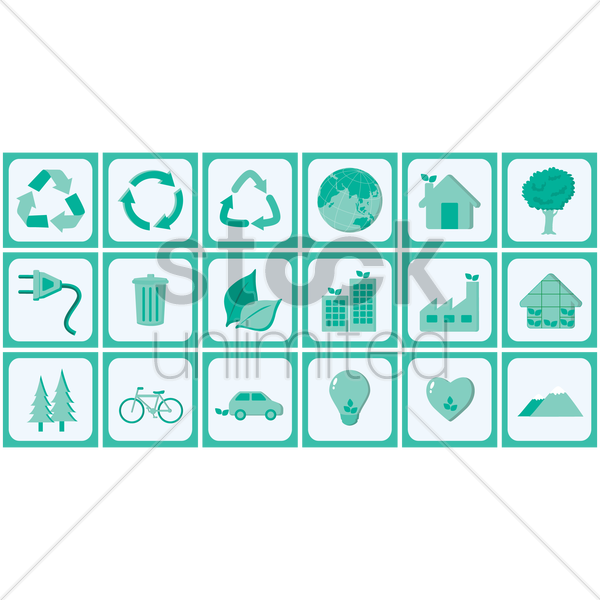 ecology icons vector graphic