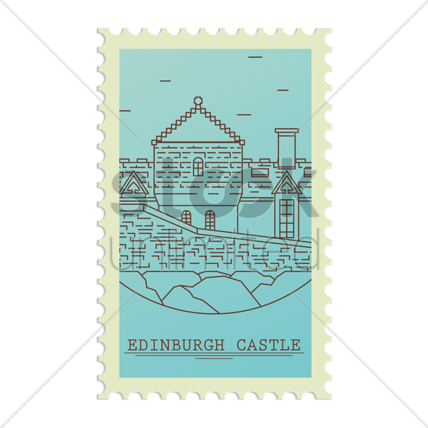 edinburgh castle postage stamp vector graphic