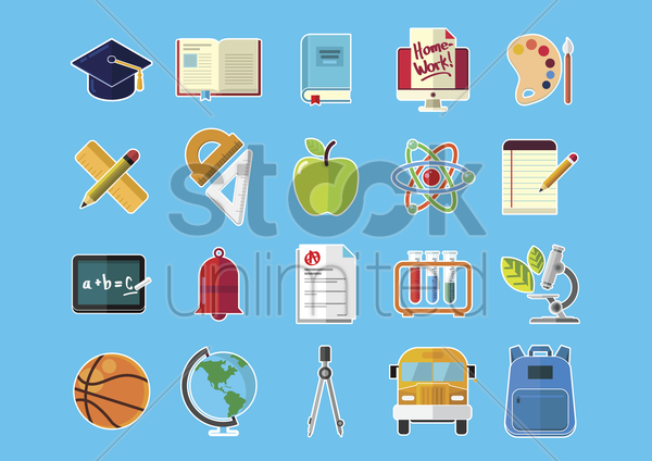 education icon set vector graphic