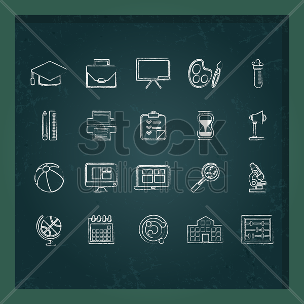 education icons set vector graphic