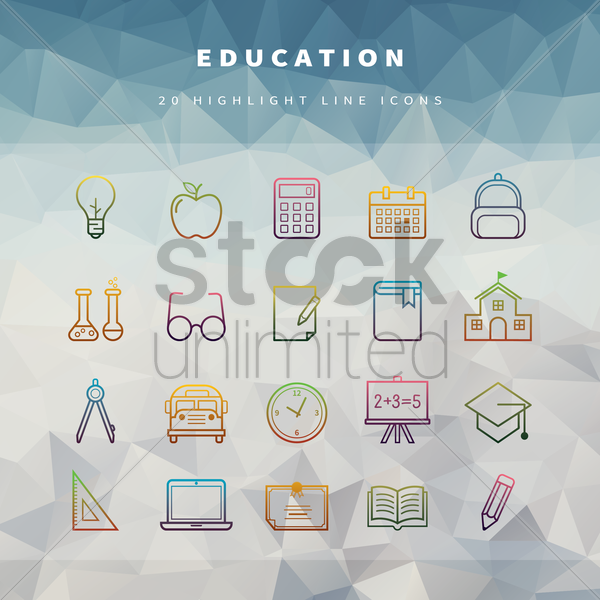 education icons vector graphic