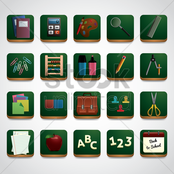 education ions set vector graphic