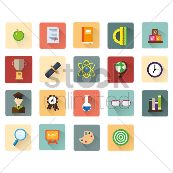 educational icons vector graphic