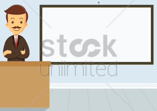 educator standing with his arms crossed in the classroom with an empty whiteboard vector graphic