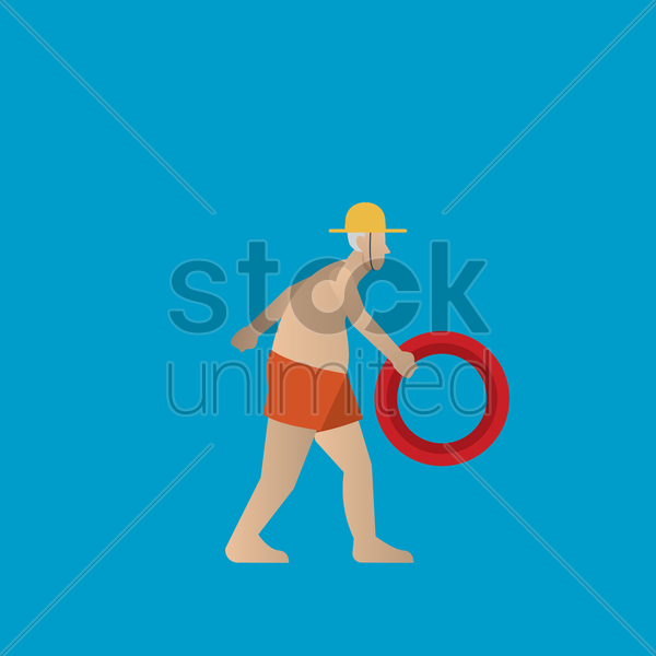 elderly man in beach shorts walking vector graphic