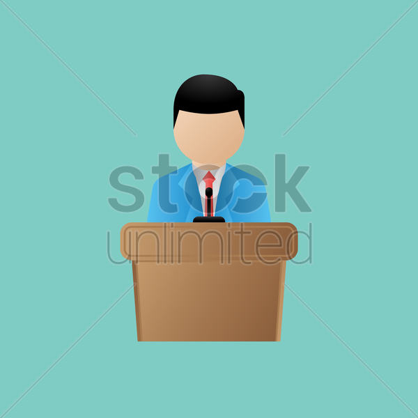 election candidate giving speech vector graphic