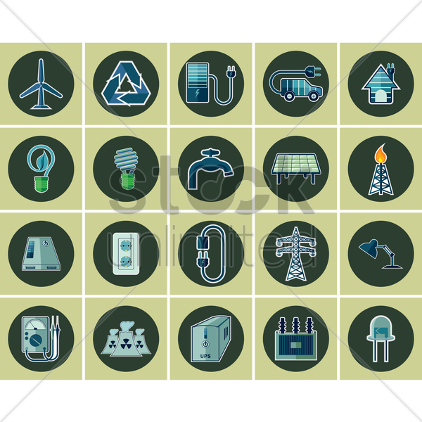 electric icon set vector graphic