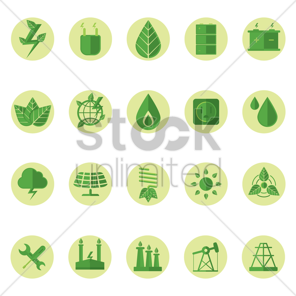 electric icons vector graphic