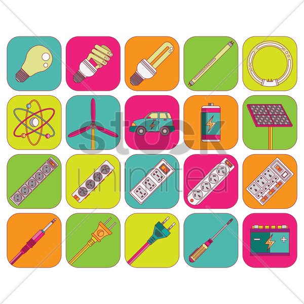 electrical and energy appliance icon set vector graphic