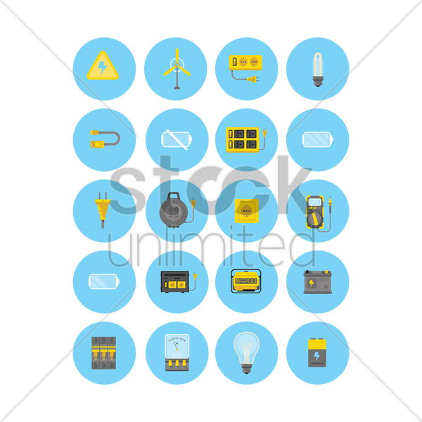 electrical appliances icon set vector graphic