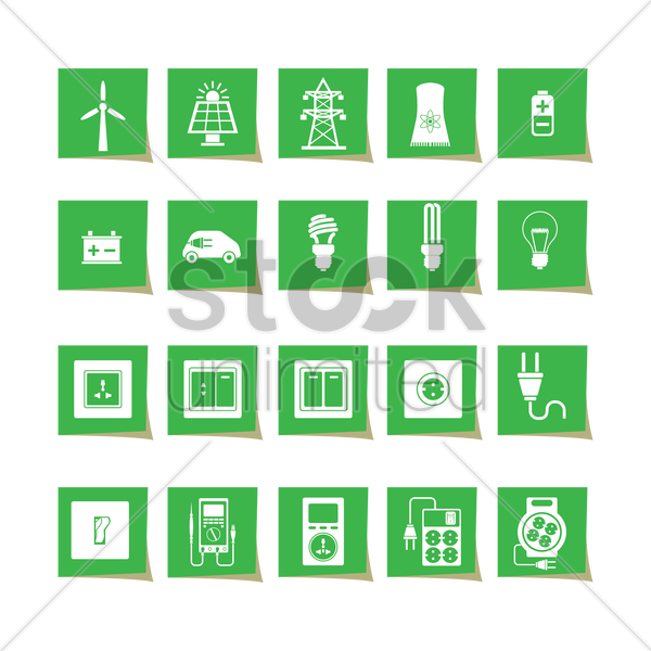 electrical power and appliance icon set vector graphic